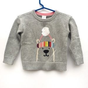 Baby Gap Girls Crazy Stripes Polar Bear Sweater